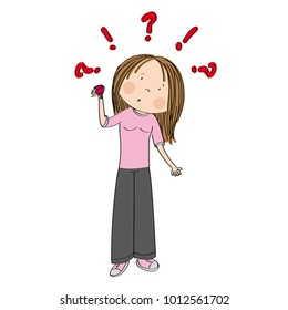 Surprised teenage girl or young woman standing and holding menstrual cup wondering how to use it - original hand drawn illustration