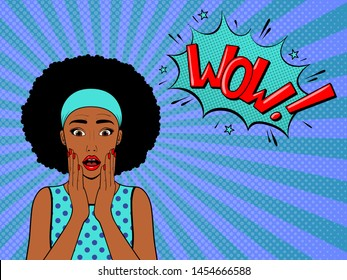 Surprised woman with afro hair .Comic woman with speech bubble. Wow face female. Pop Art vintage vector illustration