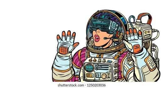 Surprised woman astronaut in virtual reality glasses. Isolate on white background. Pop art retro vector illustration. Girls 80s
