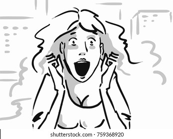 Surprised woman is ecstatic. Girl with ecstatic face expressions. Black and white vector sketch. Simple drawing.