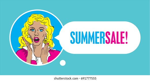 Surprised woman face with open mouth, summer sale banner