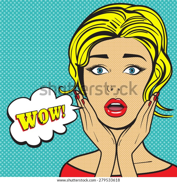 Surprised woman face with open mouth. Pop art vector illustration. Wow! bubble