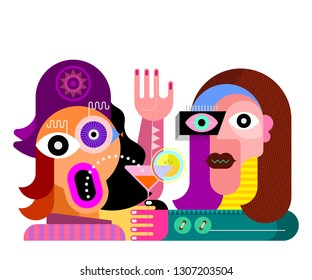 Surprised woman and her boyfriend. Colorful image isolated on a white background Woman with a Hat Drinking a Martini Cocktail, vector illustration. A man and a woman in a restaurant.
