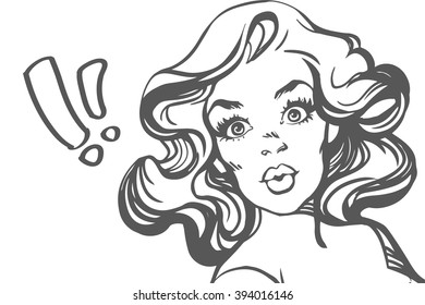 Surprised woman. Line art. Comic vector illustration isolate over white.