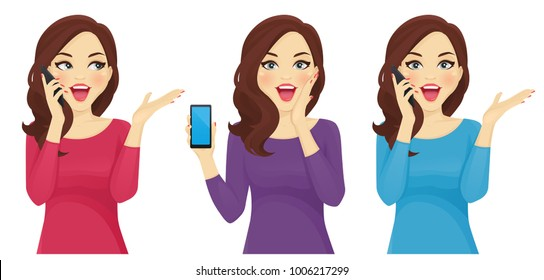 Surprised woman with phone