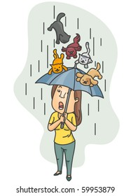 A Surprised Woman Using Her Umbrella as a Shield From A Hail of Cats and Dogs - Vector
