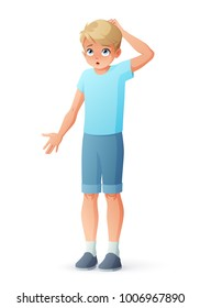 Surprised young boy scratching his head and shrugging shoulders. Cartoon style vector illustration isolated on white background.