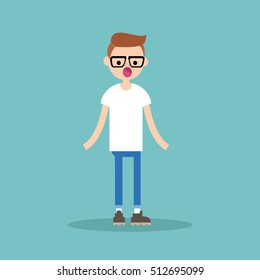 Surprised young nerd standing with open mouth / flat editable vector illustration