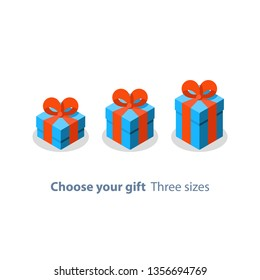 Surprising gift, blue box, red ribbon, present giveaway, special prize, happy birthday congratulation concept, three gift boxes, small medium and big, vector icon, flat illustration