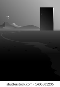 surreal abstract building in minimal landscape, black and white vector