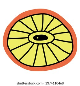 Surreal citrus looks like a microbe doodle vector illustration. Summer and spring design. Abstract object with eyes