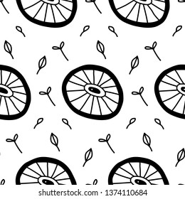 Surreal citrus looks like a microbe seamless pattern in vector illustration. Summer and spring design. Abstract objects with eyes