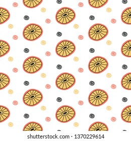 Surreal citrus seamless pattern in vector illustration. Summer and spring design. Citrus with eyes