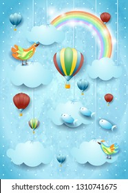 Surreal cloudscape with hot air balloons, birds and flying fisches. Vector illustration eps10