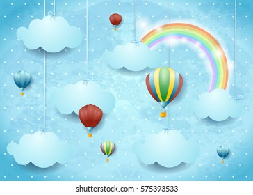 Surreal cloudscape with hot air balloons and rainbow, vector illustration