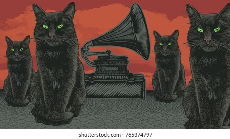 Surreal Design With Devil Cats With Green Eyes, Retro Gramophone, Desert and Sky. Hand Drawn Background In Engraving Style. aspect ratio 16:9. vector illustration
