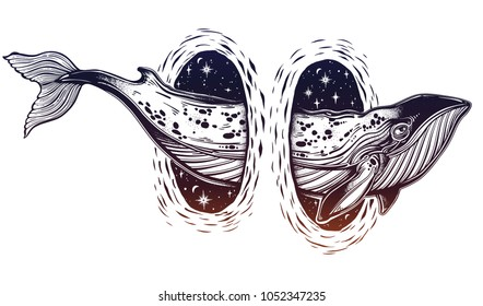 Surreal dotwork whale swimming through the magic teleport wormhole. Sea vintage fish animal. Dream, adventure, outdoors symbol. Isolated vector illustration for poster, tattoo, t-shirt, card design.