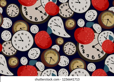 Surreal elegant seamless print. Vector pattern with red apples and clock in Salvador Dali style on dark blue background. Vector. Creative fashion design. Modern vintage.