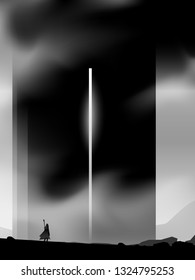 surreal epic journey illustration, traveler standing in front of magical dark tower
