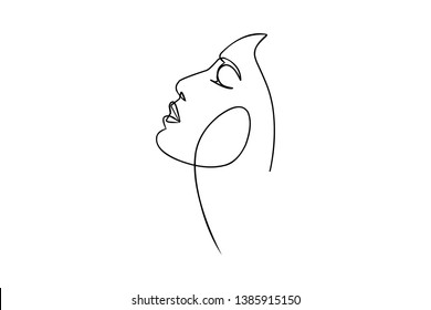 Surreal Faces Continuous line, drawing of set faces and hairstyle, fashion concept, woman beauty minimalist, vector illustration pretty sexy. Contemporary portrait