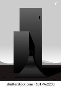 surreal futuristic building, minimal vector