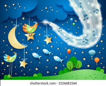 Surreal landscape by night with wave of sparkles and musical notes. Vector illustration eps10