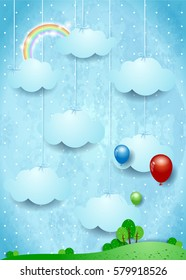 Surreal landscape with hanging clouds and balloons. Vector illustration
