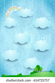 Surreal landscape with hanging clouds and rain. Vector illustration