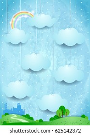 Surreal landscape with hanging clouds and small city. Vector illustration