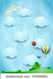 Surreal landscape with hot air balloons and hanging clouds. Vector illustration