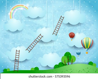Surreal landscape with ladders and hot air balloons. Vector illustration
