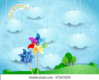 Surreal landscape with pinwheels and hanging clouds. Vector illustration