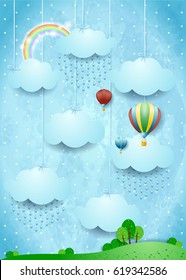 Surreal landscape with rain and hot air balloons, vector illustration