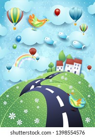Surreal landscape with road, village and flying fishes. Vector illustration eps10