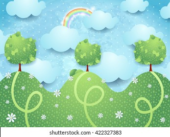 Surreal landscape with trees, vector illustration