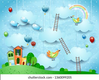 Surreal landscape with village, stairways, balloons, birds and flying fishes. Vector illustraton eps10