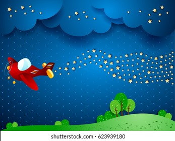 Surreal night with airplane and wave of stars. Vector illustration