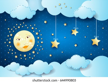 Surreal night with full moon and hanging stars. Vector illustration