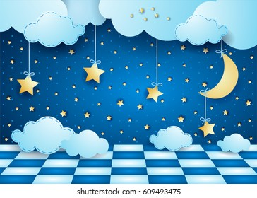 Surreal night with hanging moon, clouds and floor. Vector illustration