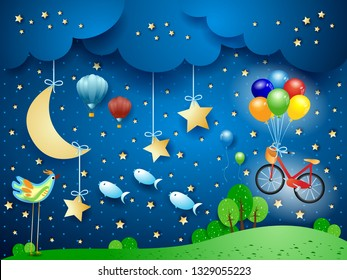 Surreal night with moon, hanging bike, balloons, birds and flying fisches. Vector illustration eps10
