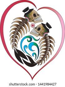 Surreal Pisces  Skulls Zodiac Art Design Logo . Hand drawn graphic vector.