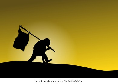 Surreal silhouette of a chimpanzee marching up a hill with a flag pole against a yellow skylight. Vector illustration.