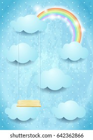 Surreal sky with clouds rainbow and swing. Vector illustration