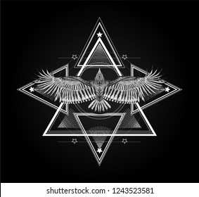 Surreal symbol. Sacred geometry with flying bird. Sketch for print t shirt and tattoo art. Ancient symbol.