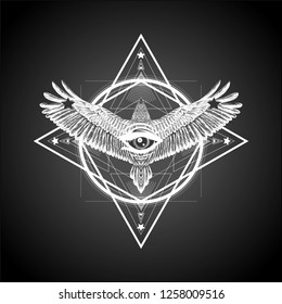 Surreal symbol. Sacred geometry with flying bird all seeing eye.Sketch for print t shirt and tattoo art. Ancient symbol. Magic mandala with eye of providence. Alchemy.