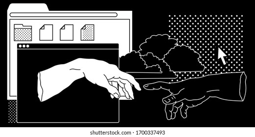 Surreal vaporwave style collage with two hands going to touch together and user interface elements, frames, file icons and windows.
