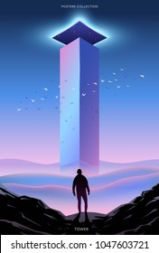 Surreal vector poster. Motivation and success. Tower.