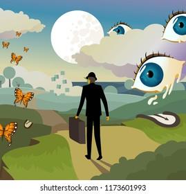 surrealism landscape background
