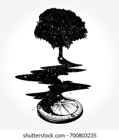 Surrealist concept of life and immortality. Star Compass. Magical tree, river of stars, psychology symbol