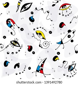Surrealistic hand drawn pattern modern style with abstract geometric shapes, lines, arrows, eyes, dots, stars on white background. Inspired in Joan Miro art.